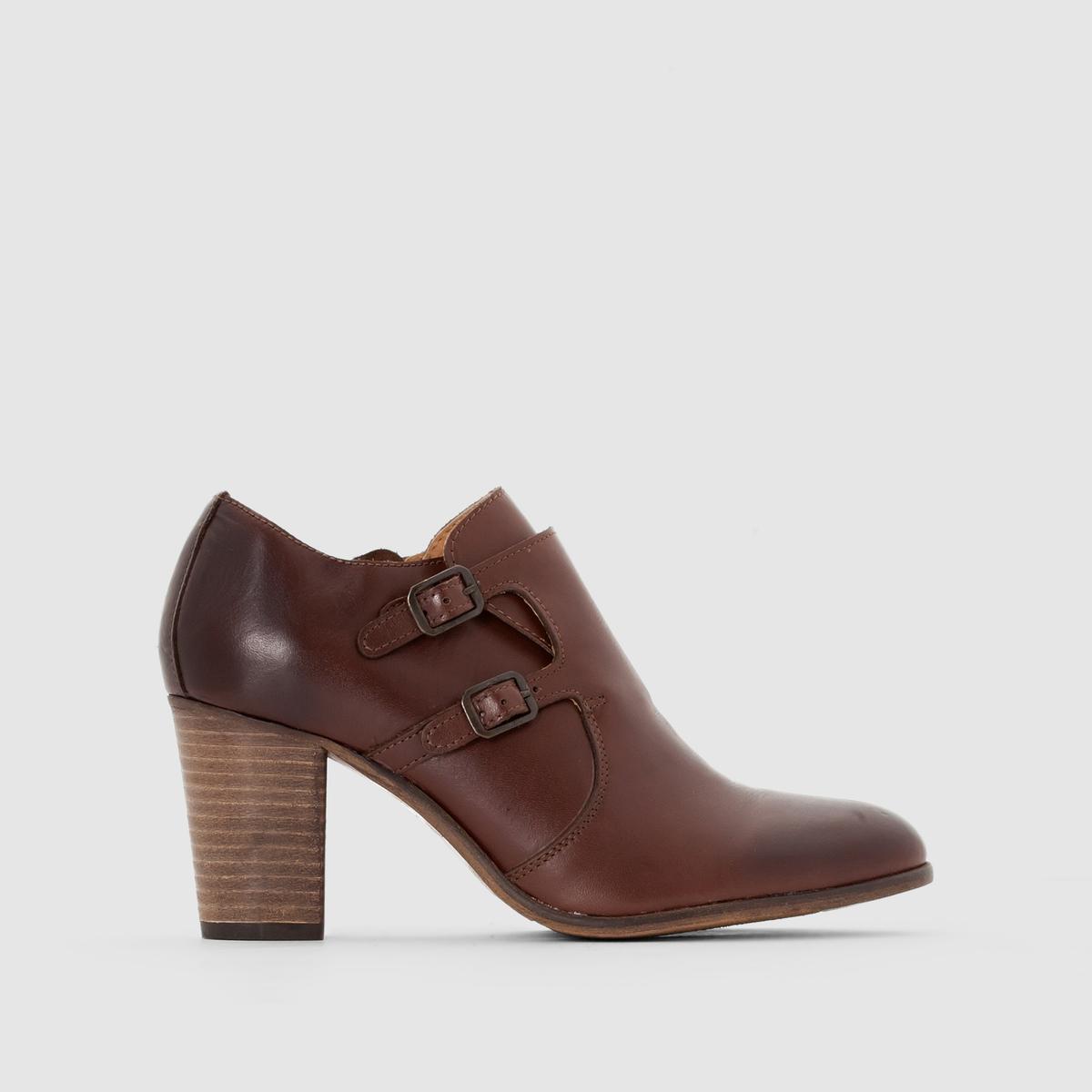 Ботинки-дерби кожаные на каблуке и с клапаном DailymocВерх/ Голенище: Кожа          Подкладка: Неотделанная кожа         Стелька: Неотделанная кожа         Подошва: Неолит         Высота каблука: Высокий (7 - 9 см)         Высота каблука: 5 см         Застежка: На молнии<br><br>Цвет: каштановый,черный