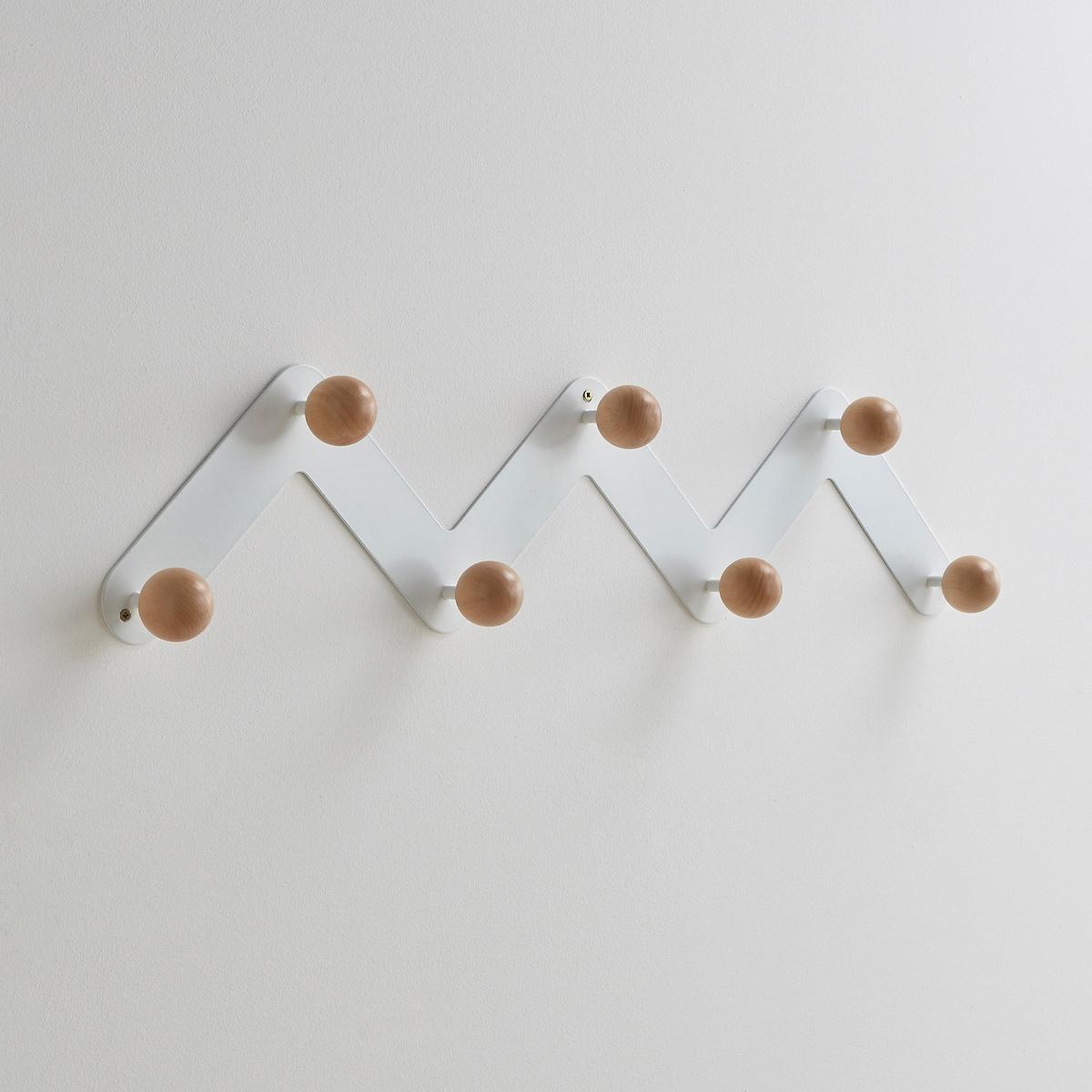 Вешалка настенная AGAMA с 7 держателямиВешалка настенная AGAMA на металлическом суппорте зигзагообразной формы для размещения любых вещей. 7 круглых держателей из натурального дерева (береза) на металлическом каркасе черного или белого цвета. Крепления в комплект не входят.Размеры:Диаметр: 5 см.Ширина: 89,7.Высота: 19 см.Глубина: 7,5 см.<br><br>Цвет: белый,черный