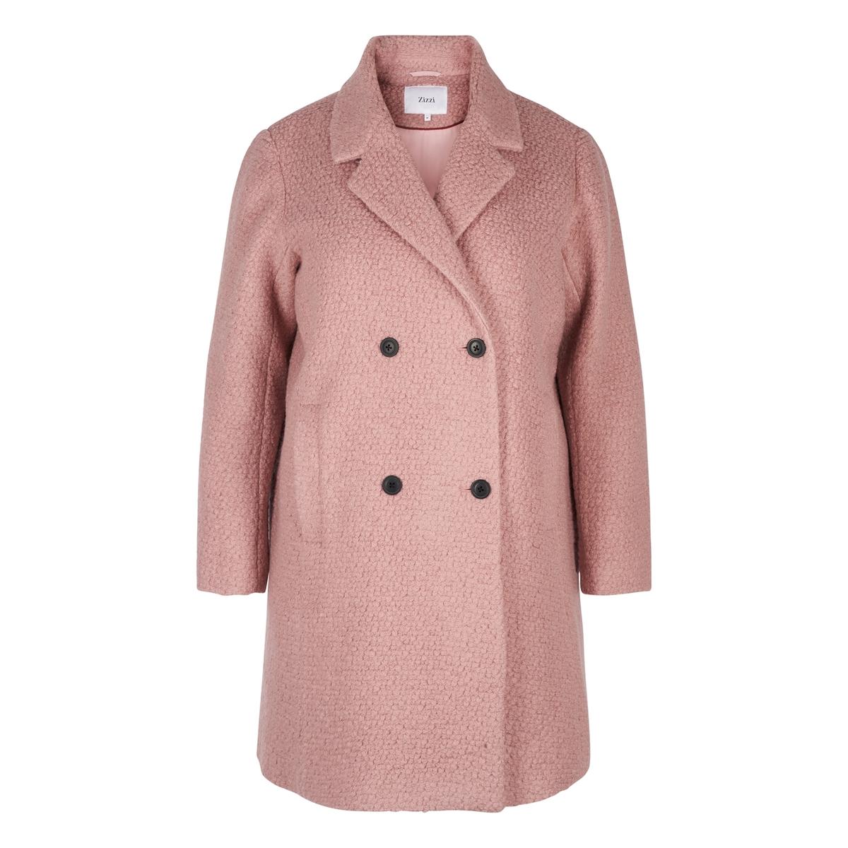 Пальто с двубортной застежкой на пуговицы из полушерстяной ткани