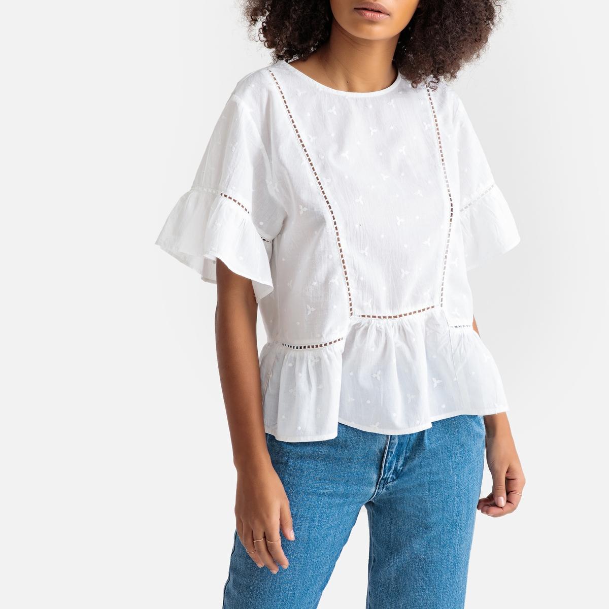Блузка La Redoute С ажурной вышивкой и рукавами с воланами S белый кардиган la redoute из трикотажа с воланами s белый