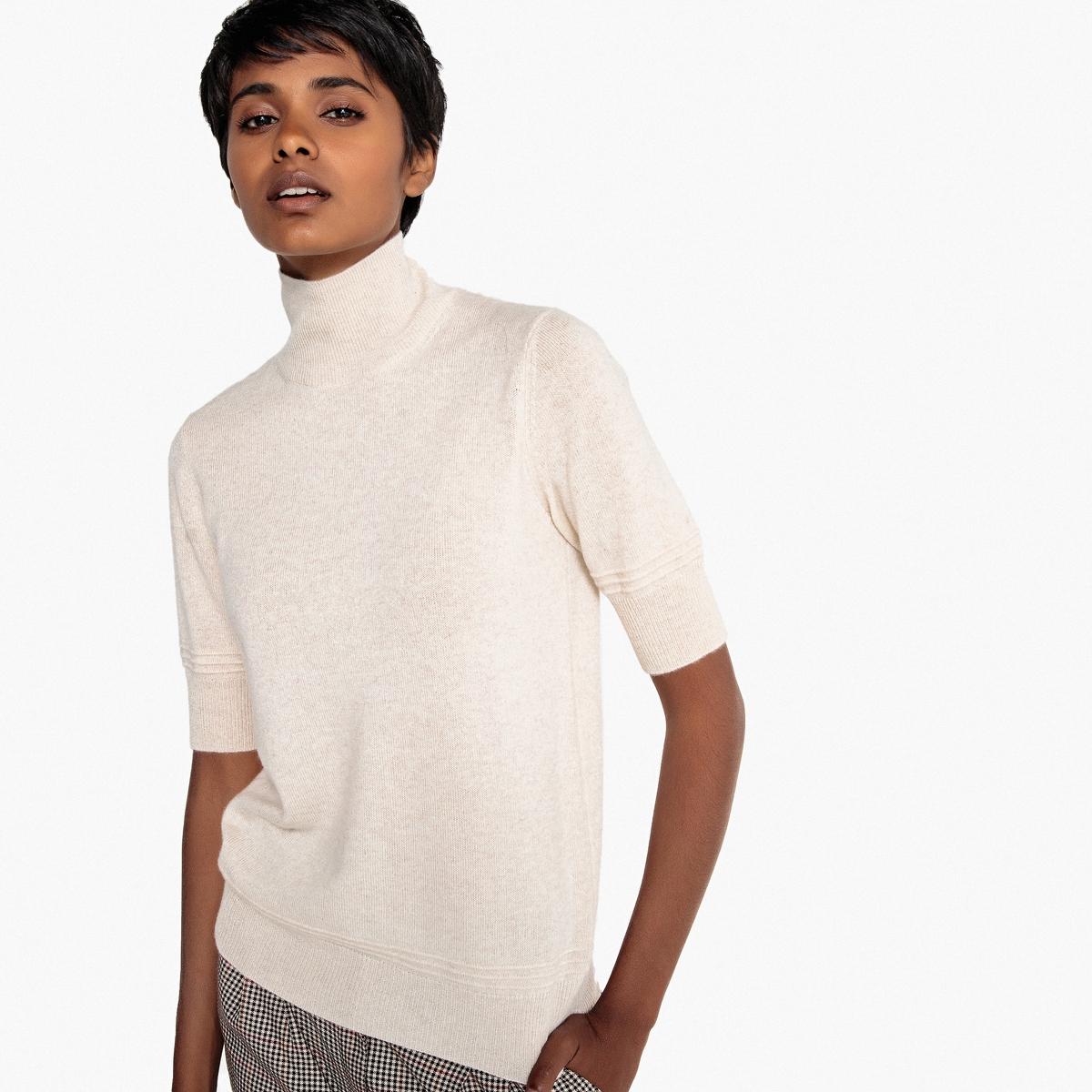 Jersey de cuello alto con manga corta, de cachemir