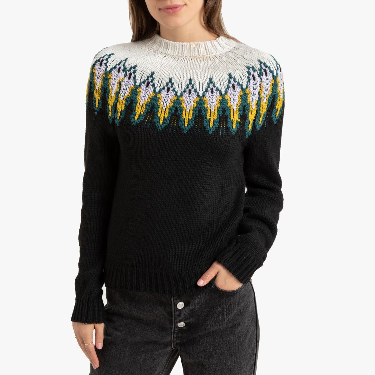 Пуловер La Redoute Жаккардовый с круглым вырезом XL черный пуловер la redoute с круглым вырезом из шерсти мериноса pascal 3xl черный