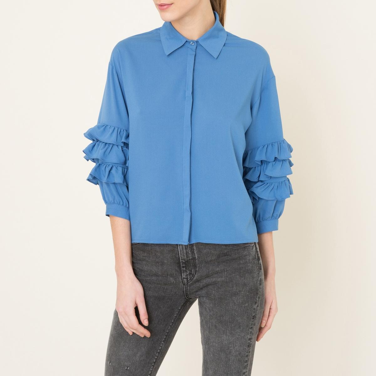 Рубашка с воланамиСостав и описание     Материал : 65% вискозы, 32% полиэстера, 3% эластана    Марка : SISTER JANE<br><br>Цвет: синий