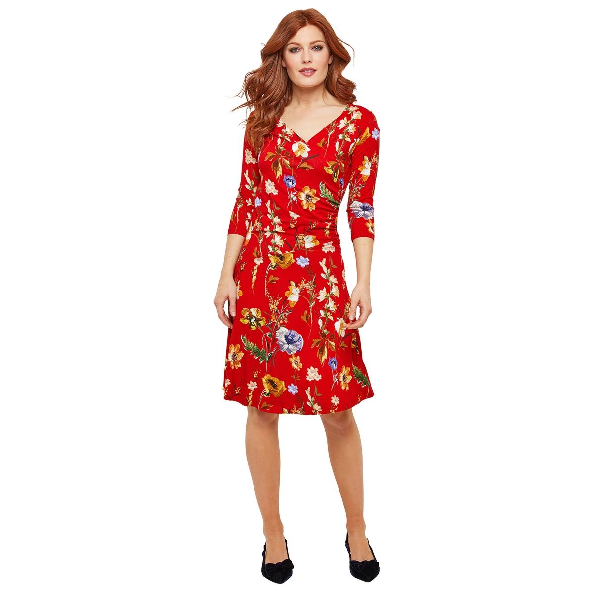 Платье La Redoute С запахом с цветочным рисунком и рукавами 44 (FR) - 50 (RUS) красный платье миди la redoute с запахом с цветочным принтом 54 fr 60 rus другие