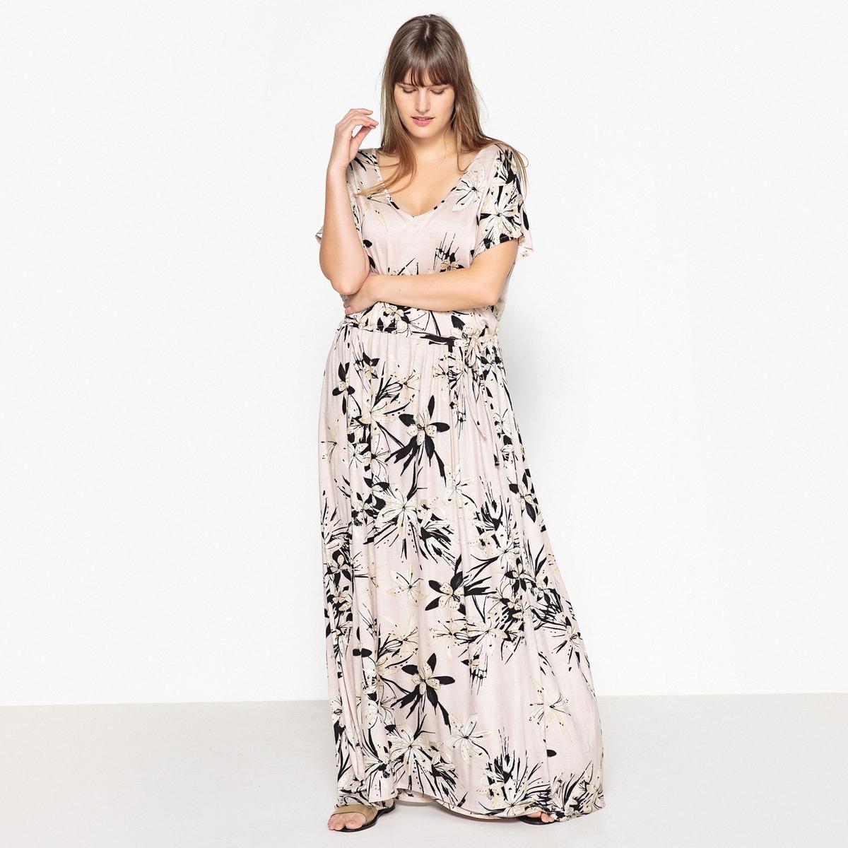 Платье прямое с цветочным принтомОписание:Изумительное, невероятно женственное длинное платье с цветочным принтом в японском стиле . Вы сможете надевать его каждый день или на вечеринку .Детали •  Форма : прямая •  Длина ниже колен •  Короткие рукава    •   V-образный вырез •  Цветочный рисунокСостав и уход •  95% вискозы, 5% эластана •  Температура стирки 30° на деликатном режиме   •  Сухая чистка и отбеливание запрещены •  Не использовать барабанную сушку •  Низкая температура глажкиТовар из коллекции больших размеров •  Длина : 140 см<br><br>Цвет: набивной рисунок