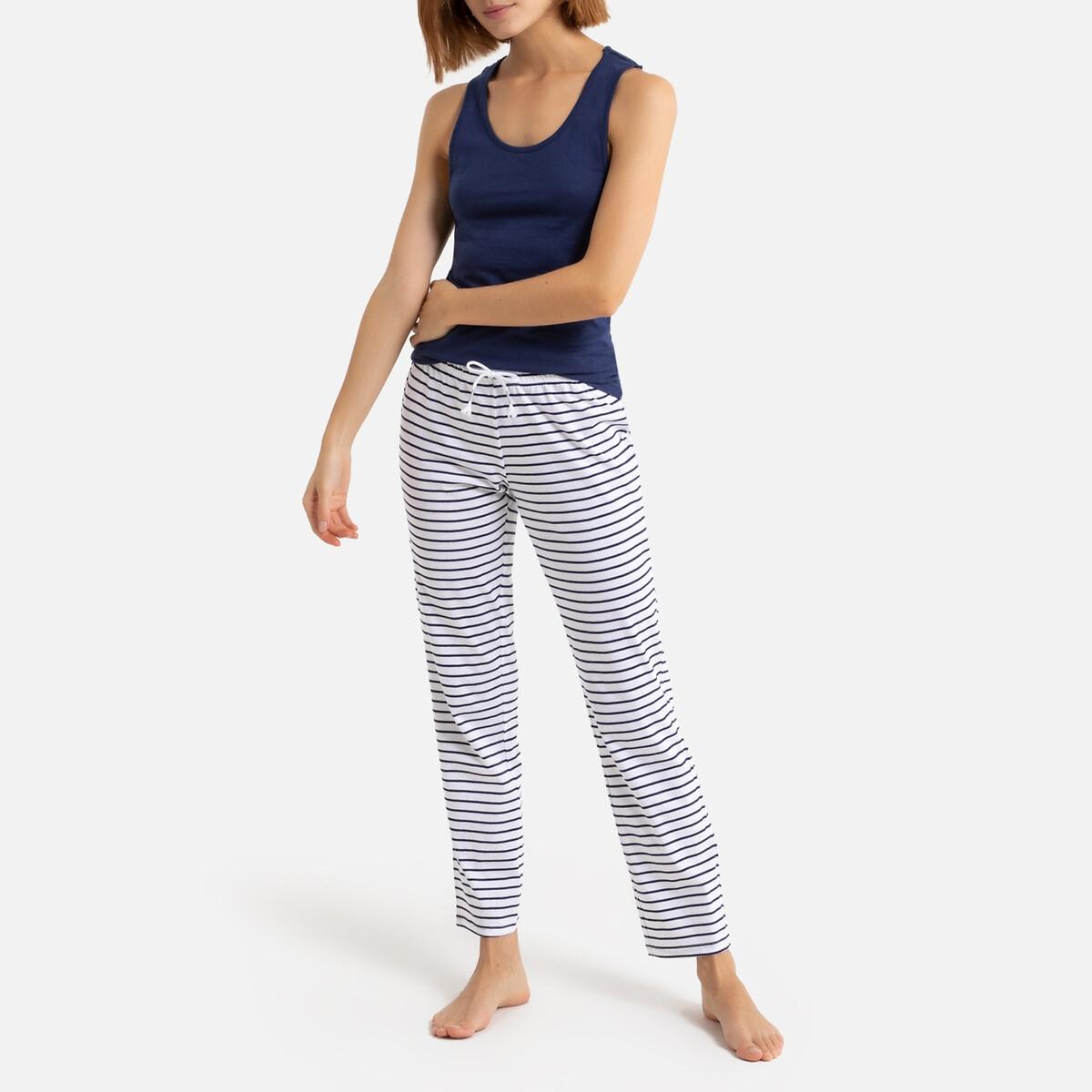 Pijama con camiseta de tirantes y pantalón a rayas de tejido de algodón