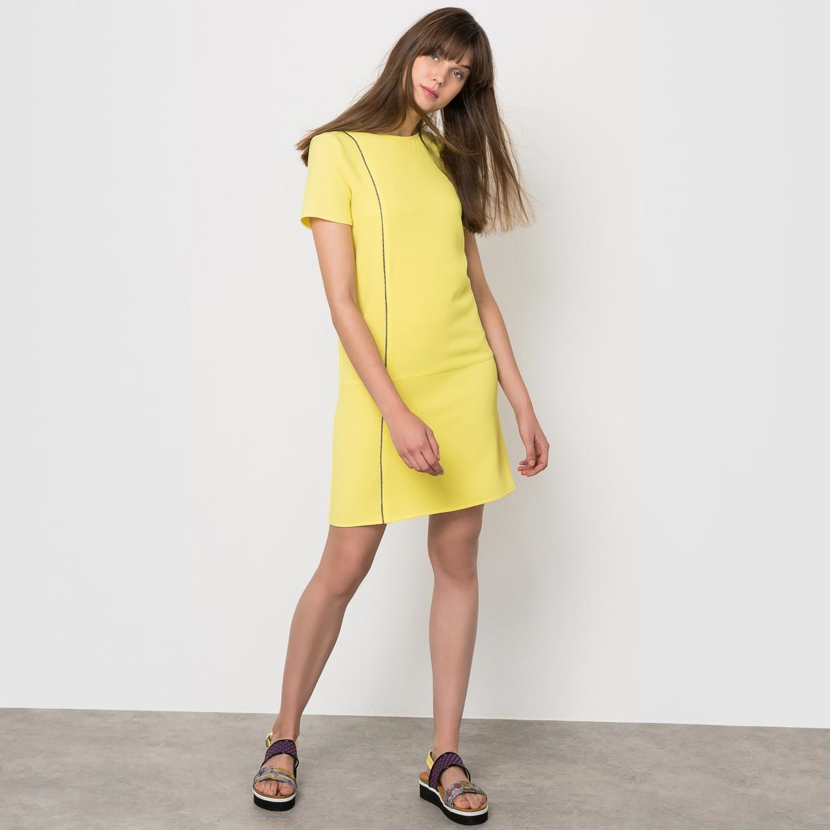 Платье с контрастной бейкой. Короткие рукава