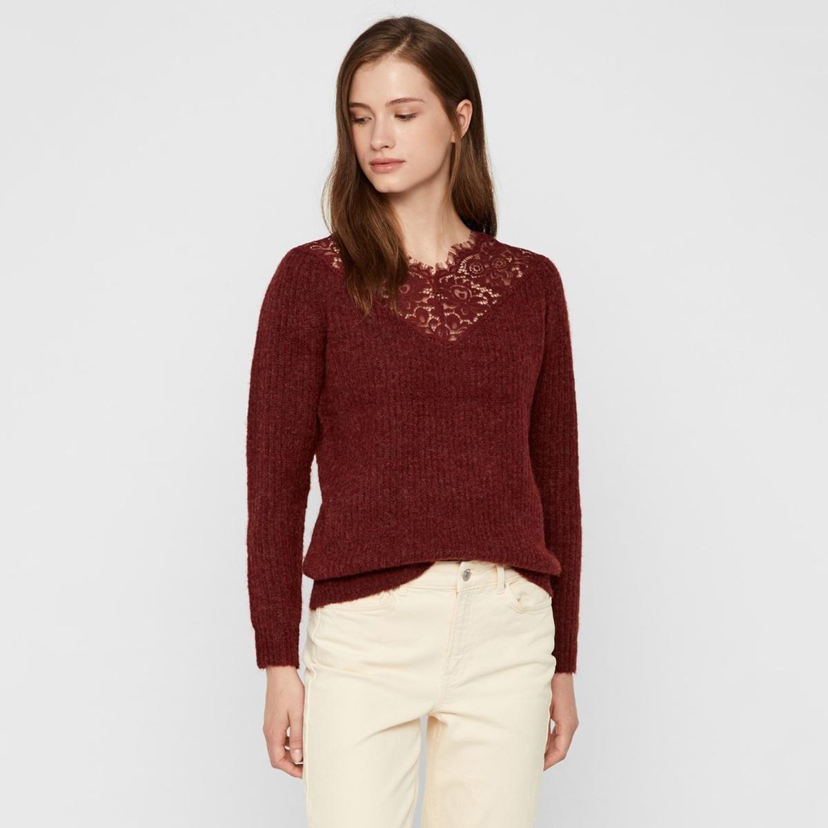 Пуловер La Redoute С V-образным вырезом с кружевом XS красный цена 2017