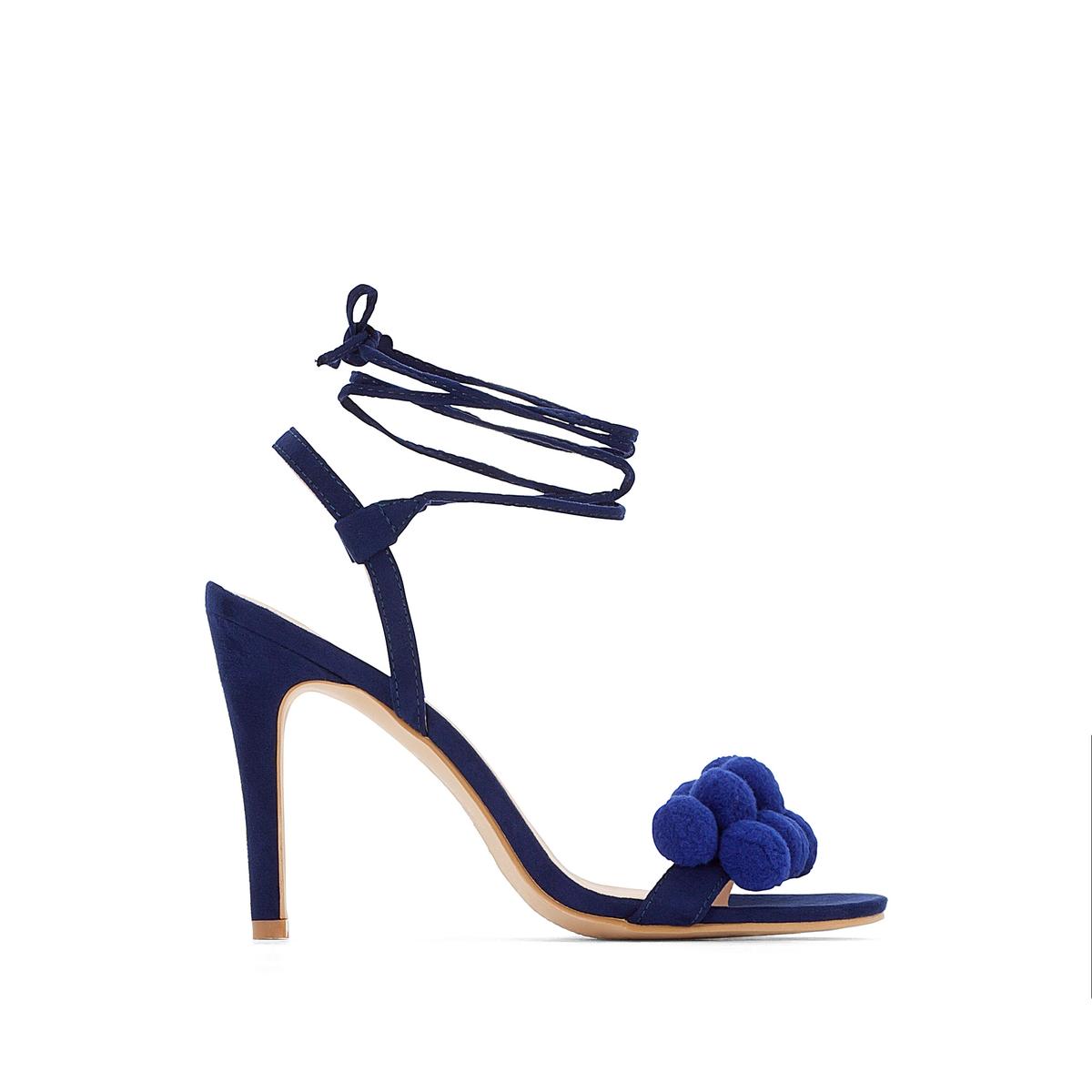 Босоножки на высоком каблуке с кисточкамиВерх/Голенище : синтетика                  Подкладка : синтетика                  Стелька : синтетика                  Подошва : эластомер                  Высота каблука : 9 см                  Форма каблука : шпилька                  Мысок : открытый мысок                  Застежка : завязки<br><br>Цвет: синий морской
