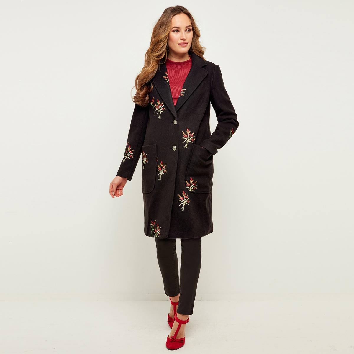 Mantel mit floraler Stickerei und Knopfverschluss | Bekleidung > Mäntel > Sonstige Mäntel | Schwarz | Polyamid - Polyester | JOE BROWNS