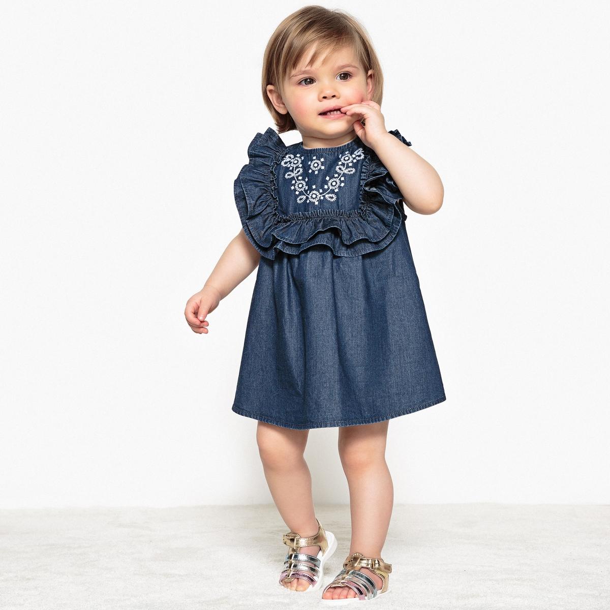 Платье La Redoute С вышивкой и воланами из денима мес - года 3 года - 94 см синий шорты с вышивкой 1 мес 3 года