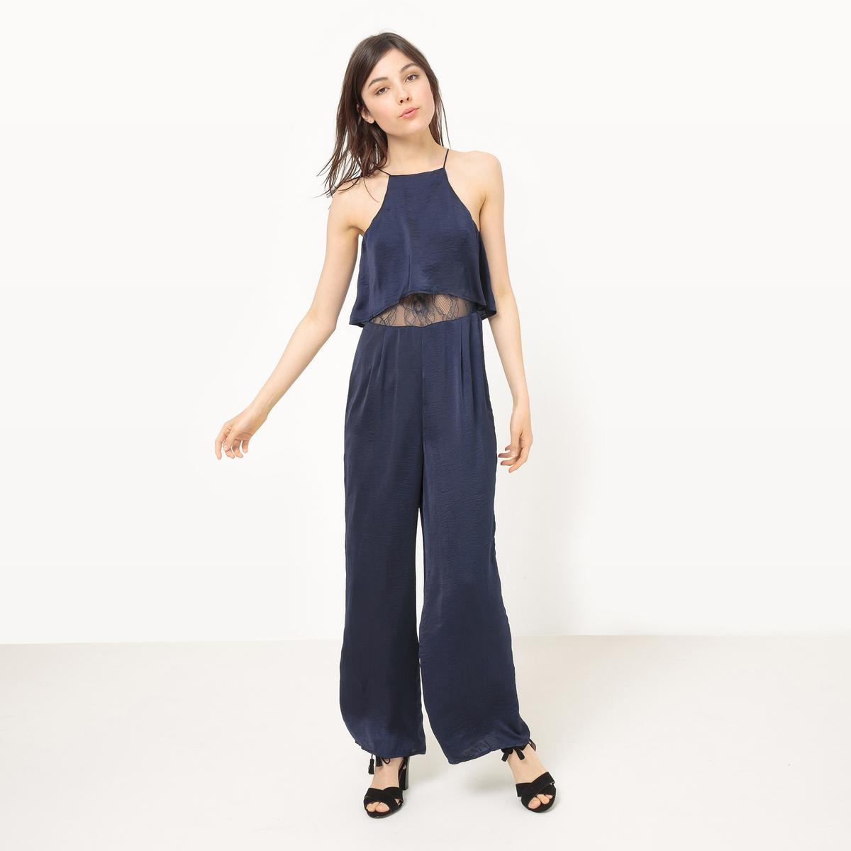 Комбинезон с широкими брюками, кружевной верхМатериал : 100% полиэстер Покрой комбинезона : Свободный, широкий  Тип комбинезона : комбинезон с брюками. Особенности : Кружево<br><br>Цвет: темно-синий
