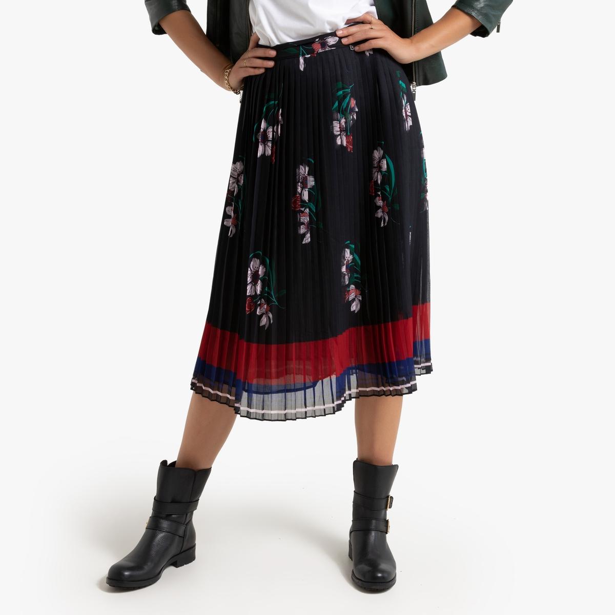 Юбка La Redoute Миди с плиссировкой и с цветочным принтом Nini M черный платье миди la redoute с запахом струящееся m синий