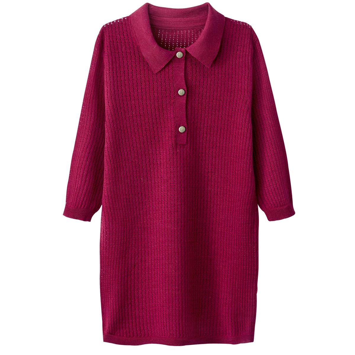 Пуловер ажурный с воротником-поло, 100% шерсть