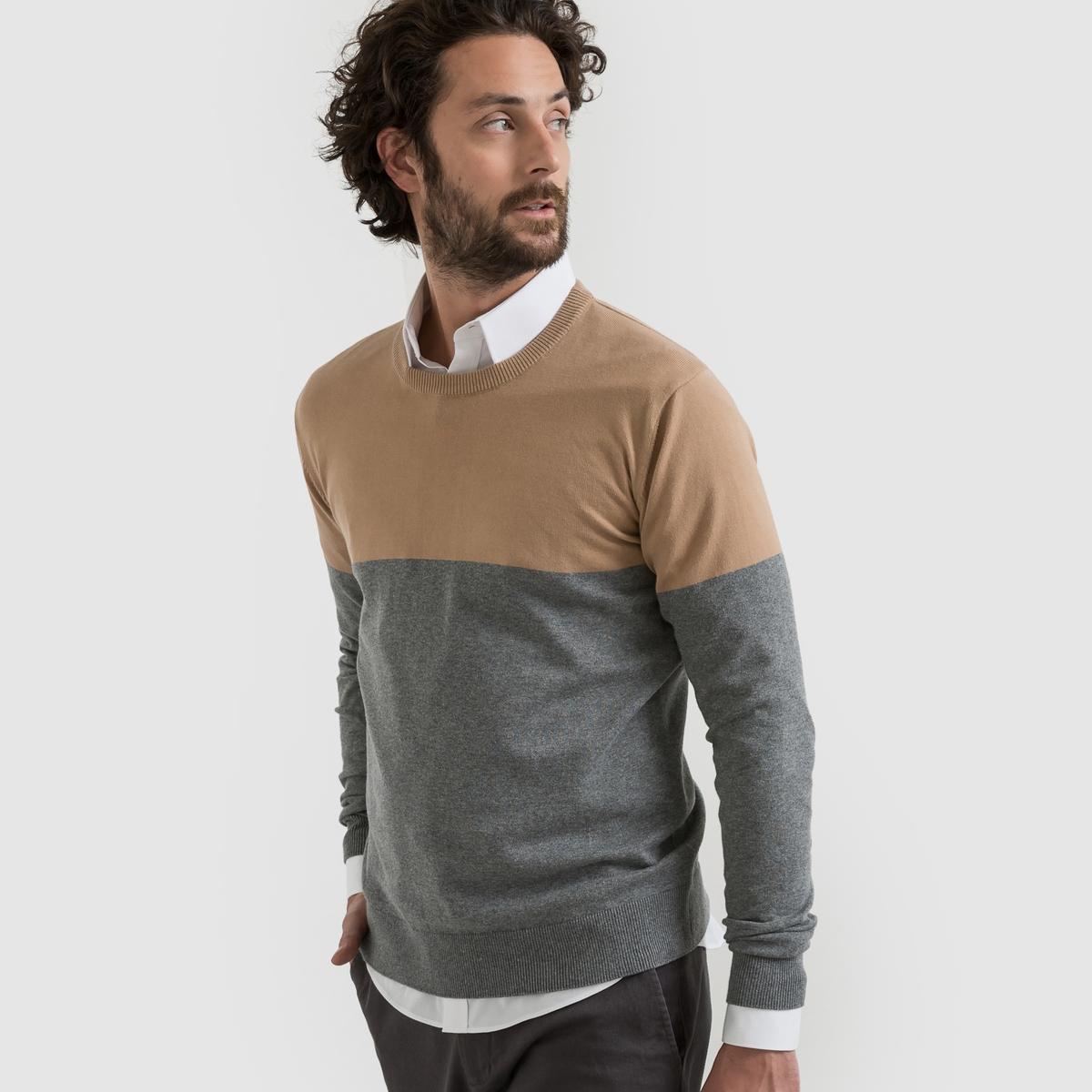 Пуловер двухцветный с круглым вырезомПуловер двухцветный с длинными рукавами. Прямой покрой, круглый вырез.  Состав и описание Материал : 80% хлопка, 20% полиамида.Длина : 67 см Марка :      R ?dition<br><br>Цвет: бежевый/ серый<br>Размер: 3XL