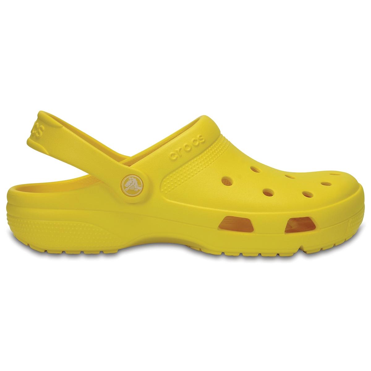 Сабо Crocs Coast ClogОписание:Детали •  Плоский каблук •  Застежка : без застежки •  Круглый мысок •  Гладкая отделкаСостав и уход •  Верх 100% ПВХ (поливинилхлорид) •  Стелька 100% ПВХ •  Подошва 100% ПВХ<br><br>Цвет: желтый