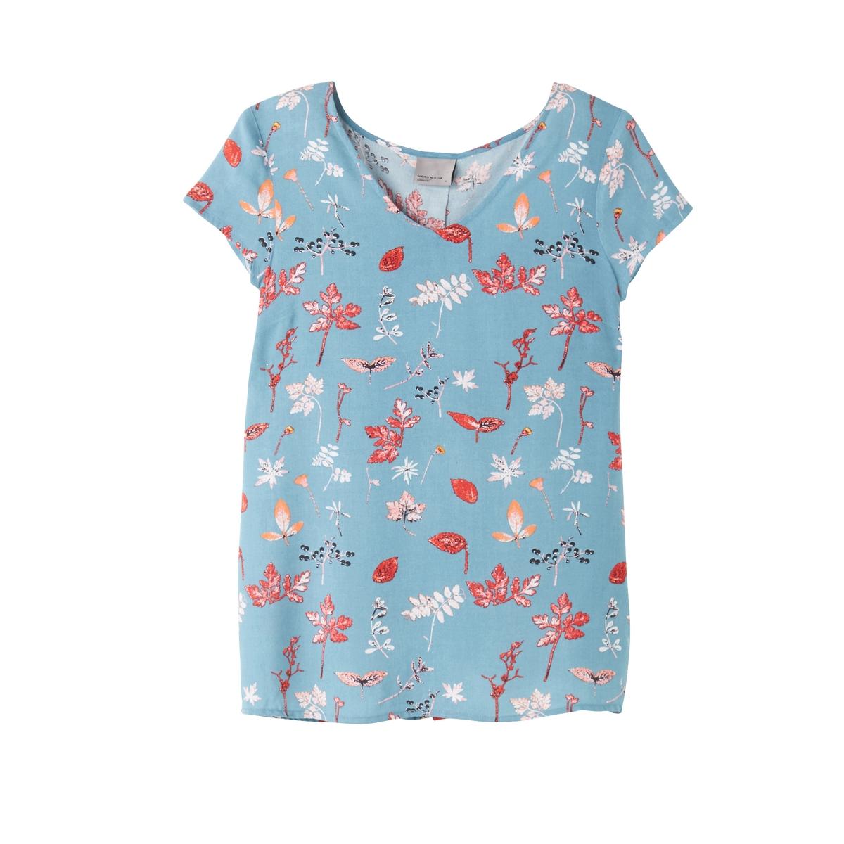 Блузка с V-образным вырезом, рисунком и короткими рукавами