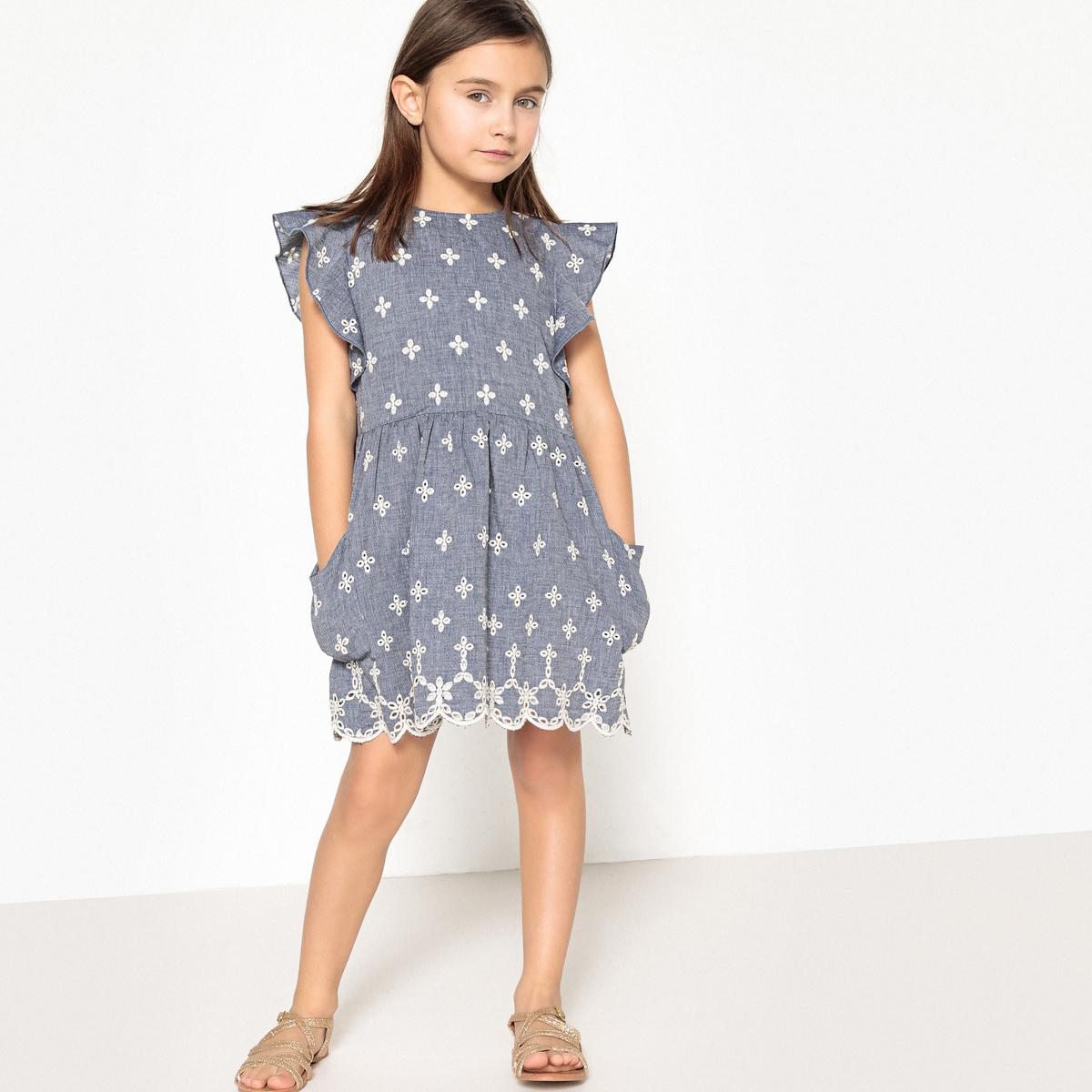 Платье с вышивкой, 3-12 лет футболка с вышивкой и воланами 3 12 лет