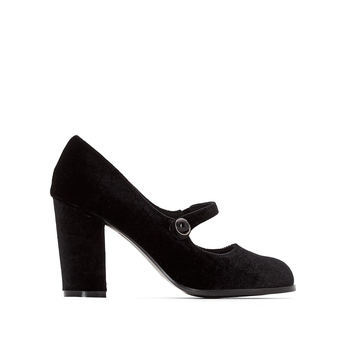 Туфли на каблуке велюровые с пряжкой
