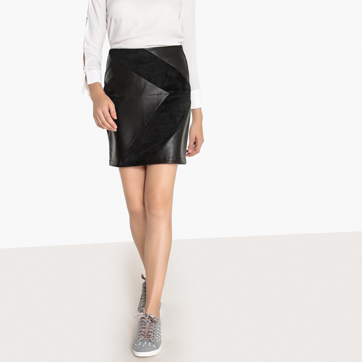 Короткая юбка из двух материалов