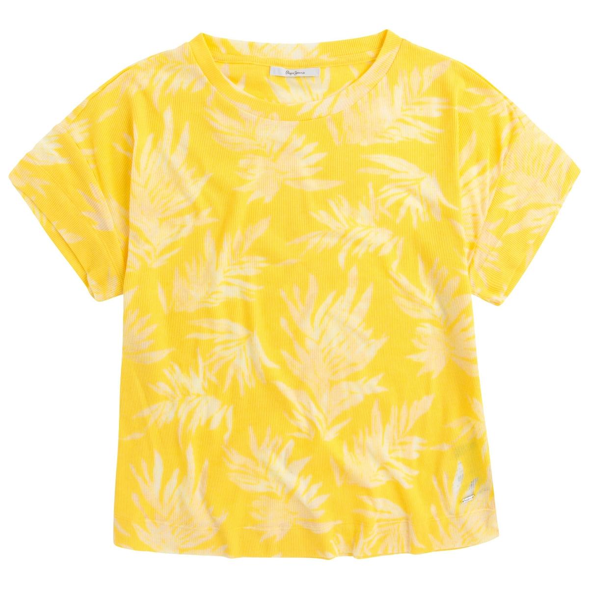 Camiseta con cuello redondo y estampado de flores, manga corta