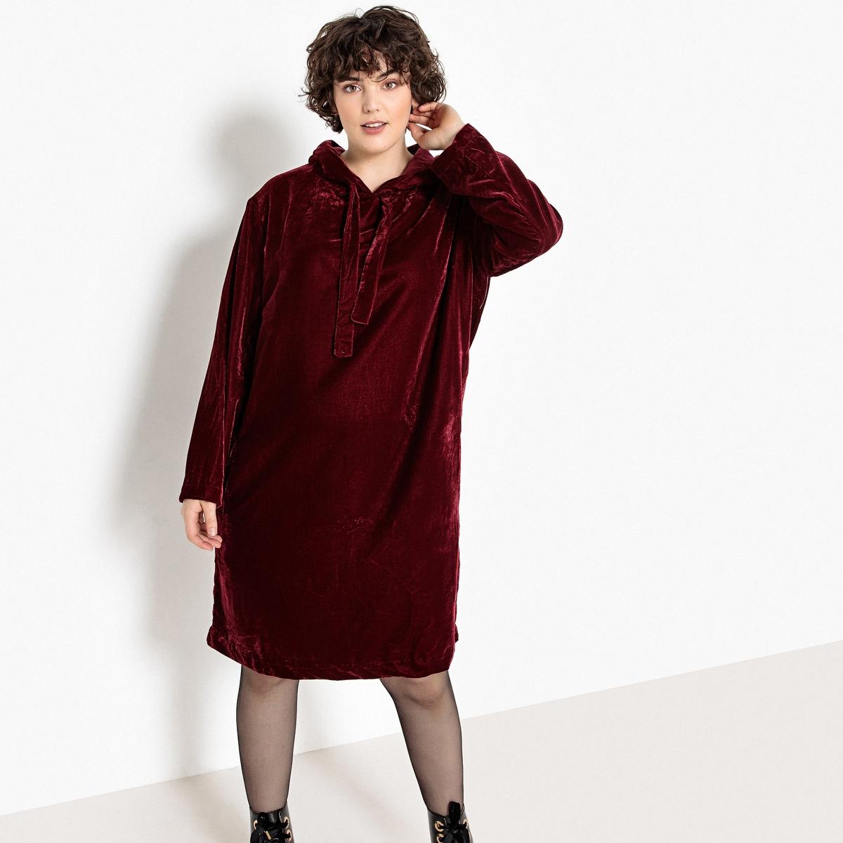 Платье La Redoute Прямого покроя средней длины с капюшоном из велюра 42 (FR) - 48 (RUS) красный