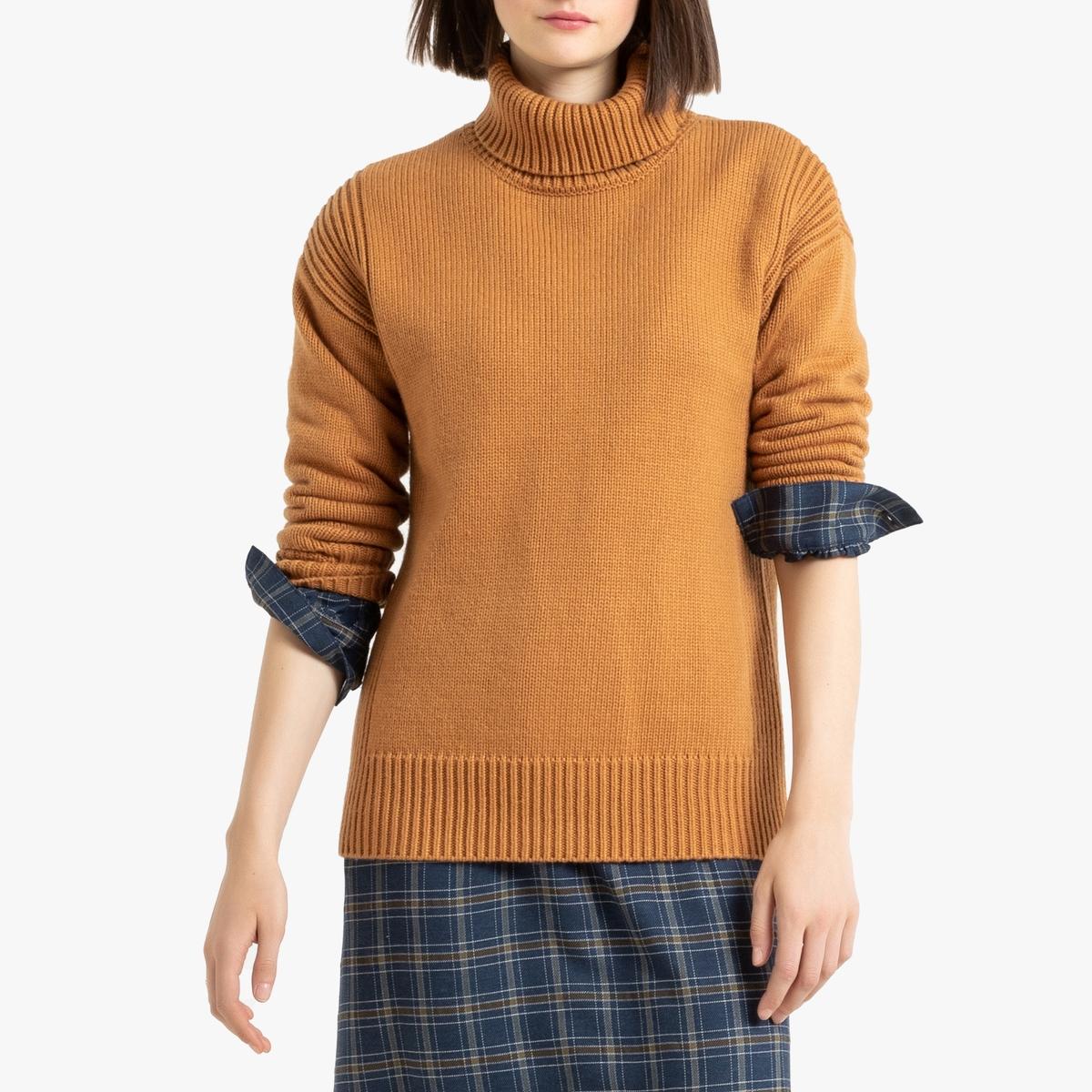 Фото - Свитер LaRedoute Крупной вязки M каштановый пуловер laredoute крупной вязки s синий