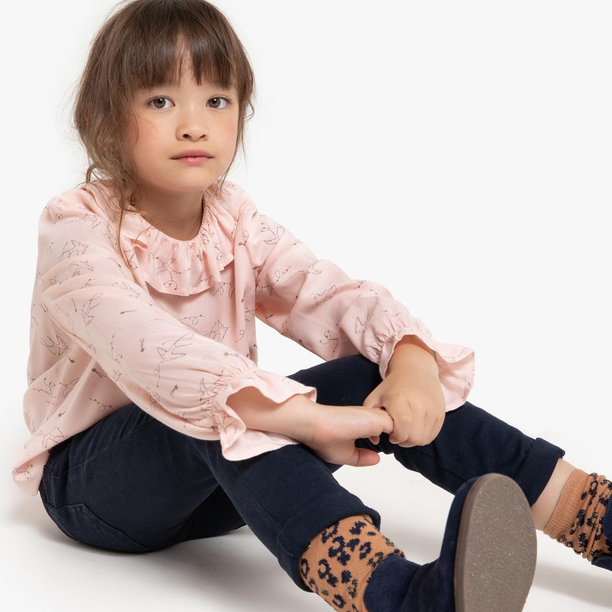Блузка La Redoute С воланами и принтом ласточки 12 лет -150 см другие пижама la redoute с шортами и цветочным принтом 12 лет 150 см другие