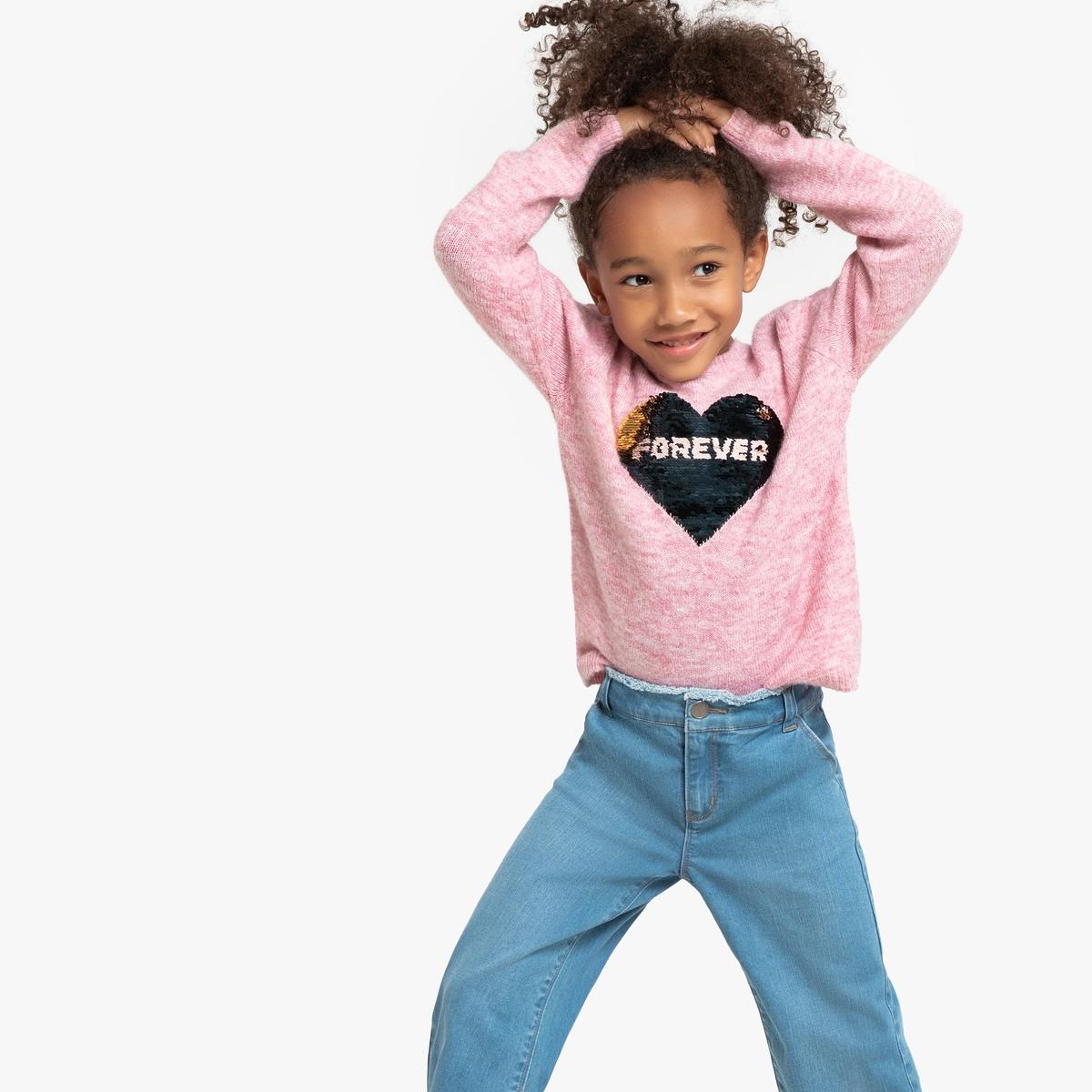 Пуловер La Redoute С круглым вырезом с блестками 3-12 лет 3 года - 94 см розовый