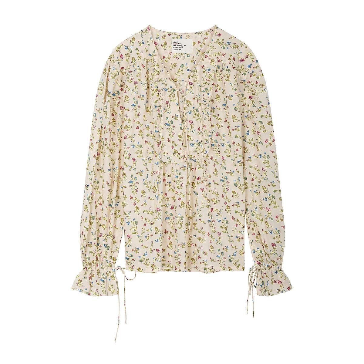 Блузка La Redoute С принтом из биохлопка CHOUPETTE XS бежевый блузка lime блузка с завязками