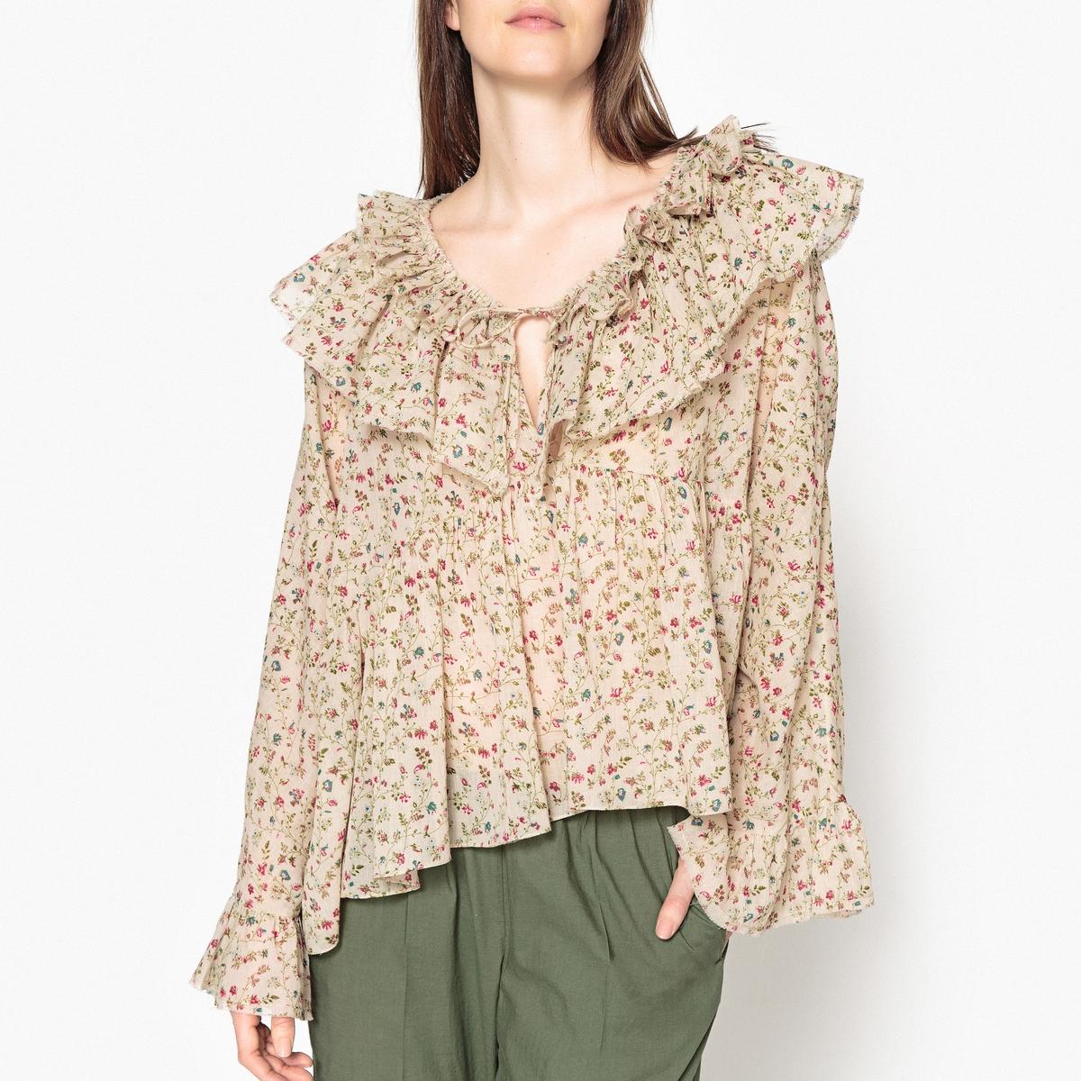 Блузка с принтом и длинными рукавами с воланами MAT