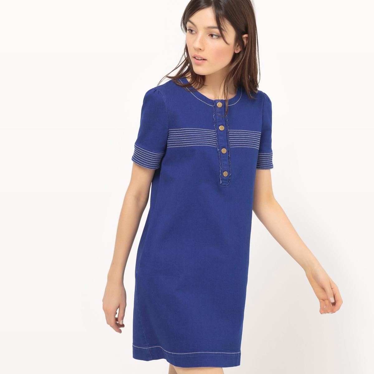 Платье в стиле 60-х годов с застежкой на пуговицы из денима