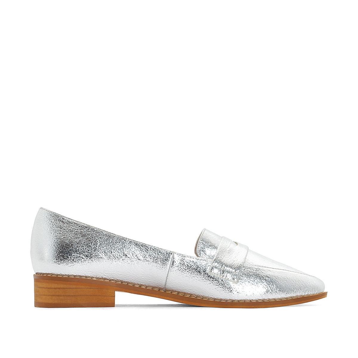 Мокасины с металлическим блеском, подходят для широкой стопы, размеры 38-45