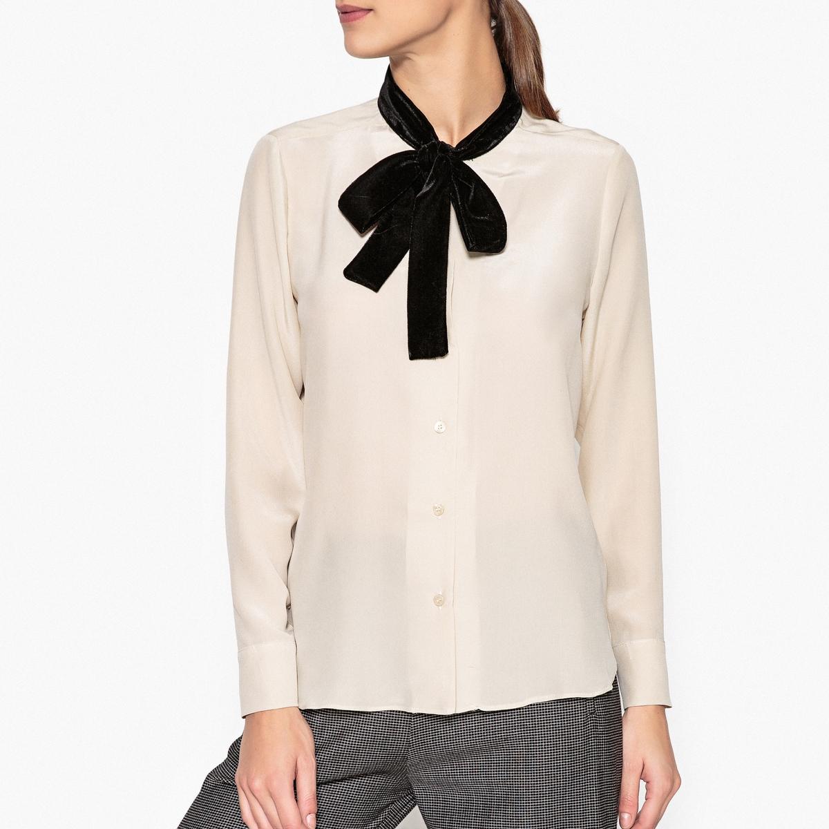 Рубашка из шёлка с галстуком-бантом NANOОписание:Рубашка с длинными рукавами TOUPY - модель NANO из натурального шёлка с галстуком-бантом. Прямой низ и манжеты на пуговицах .Детали   •  Длинные рукава •  Прямой покрой •  Галстук-бантСостав и уход •  100% шелк •  Следуйте советам по уходу, указанным на этикетке<br><br>Цвет: желтый,экрю