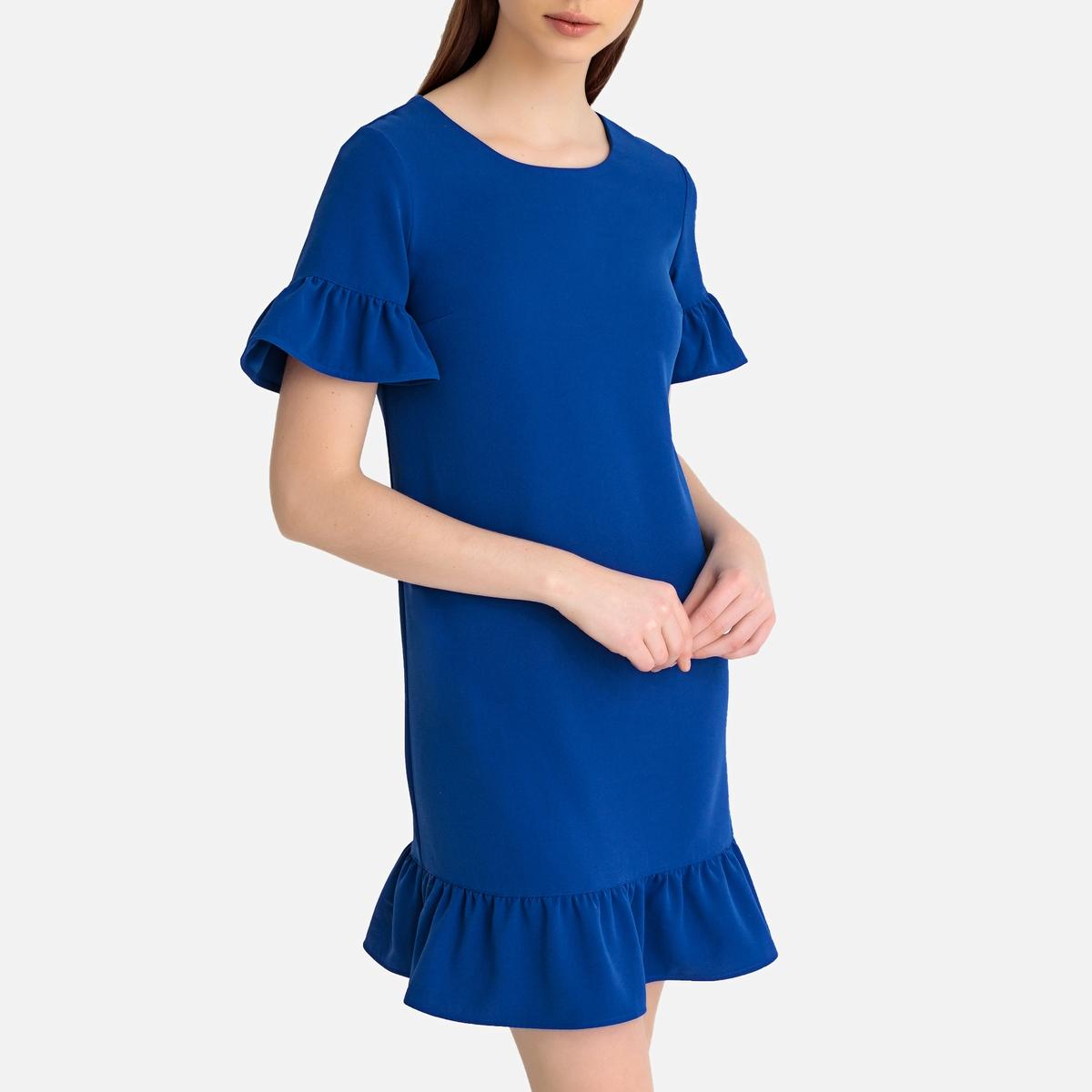 Платье LaRedoute Короткое расклешенное с баской и короткими рукавами 40 (FR) - 46 (RUS) синий платье la redoute расклешенное короткое с длинными рукавами 46 fr 52 rus синий