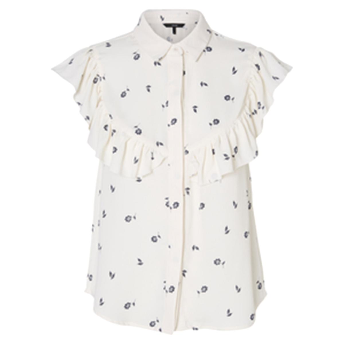 Блузка без рукавов с рисунком и воланами блузка с рисунком и накладными воланами