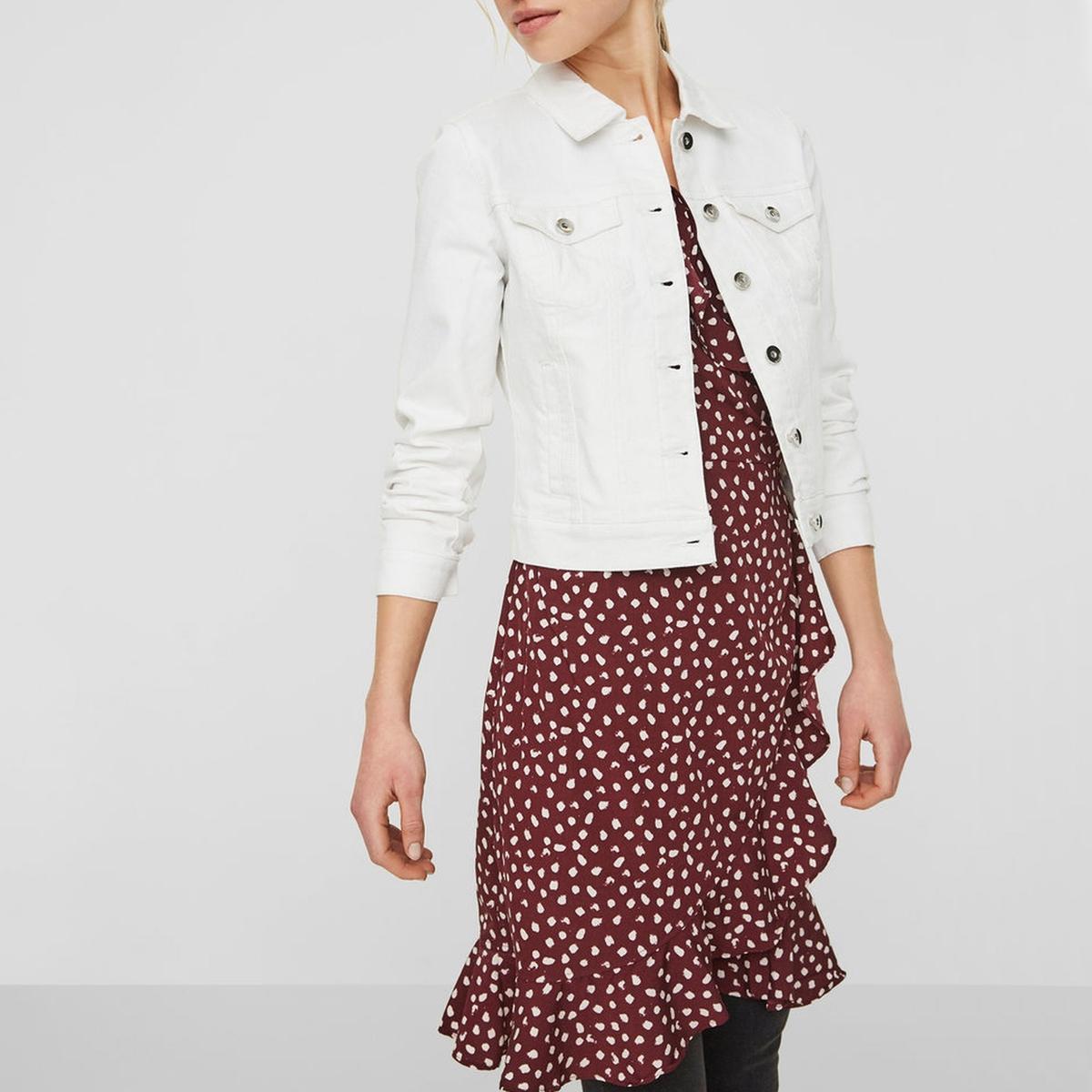Куртка LaRedoute Короткая прямого покроя из джинсовой ткани S белый