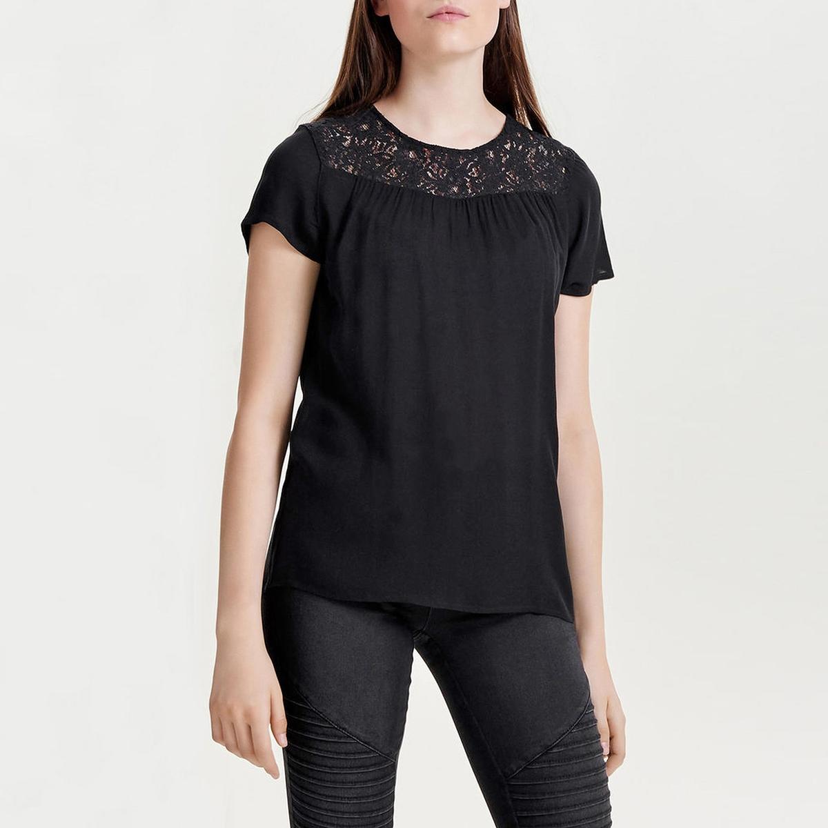 Блузка однотонная с круглым вырезом и короткими рукавами