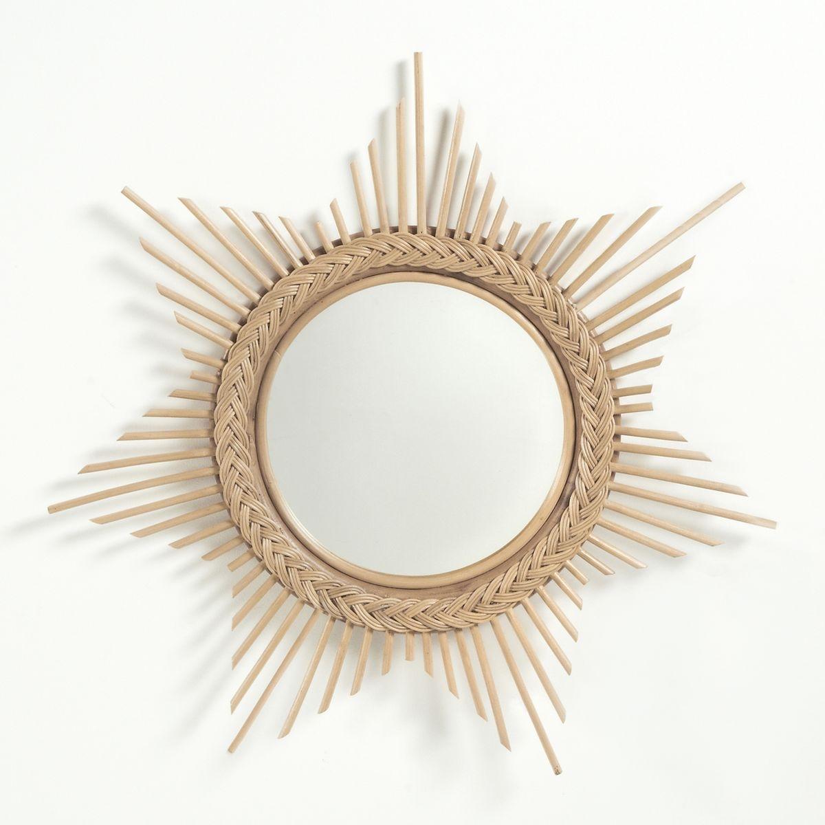 Miroir soleil en rotin for Miroir soleil prix
