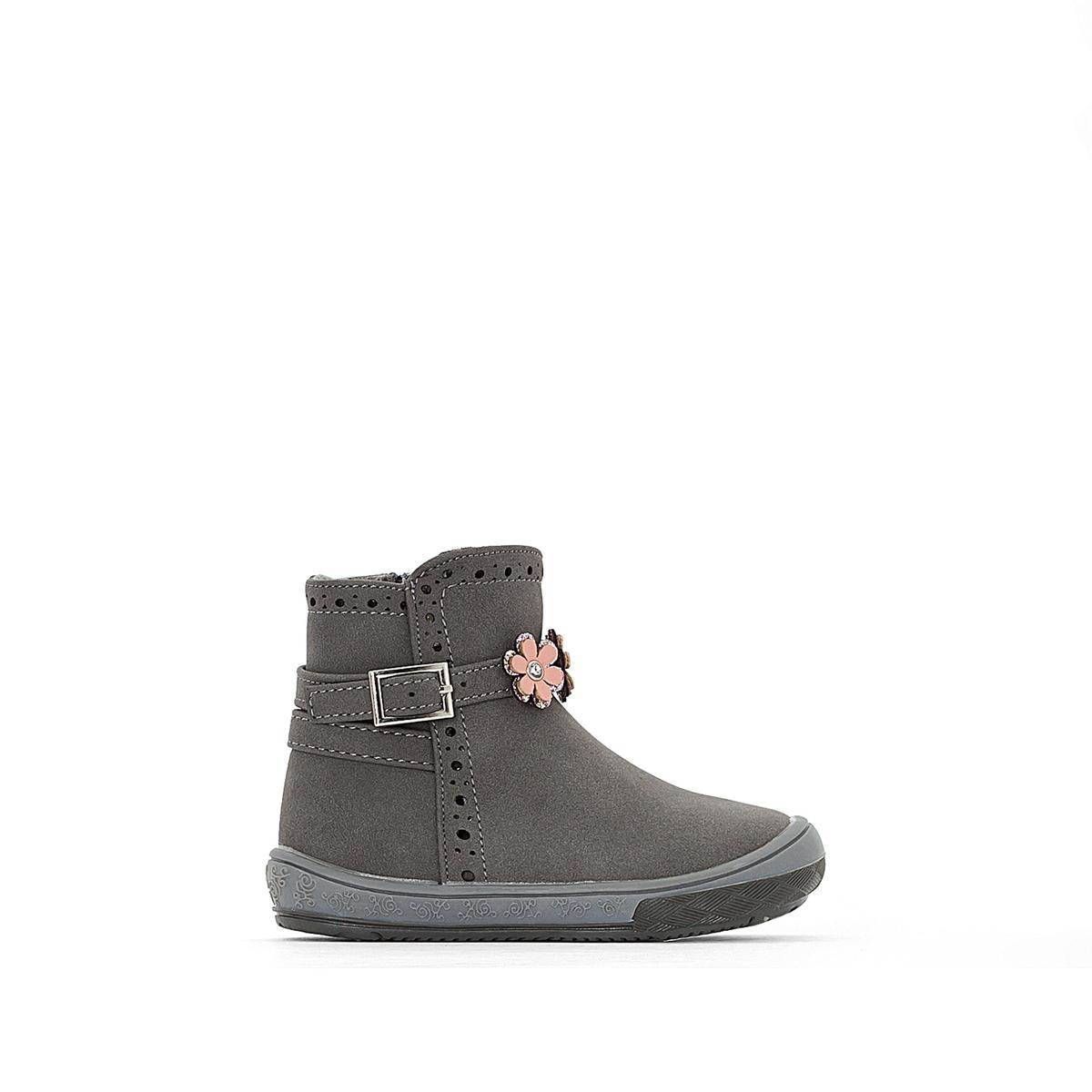 Ботинки на меховой подкладке с цветами 19-25