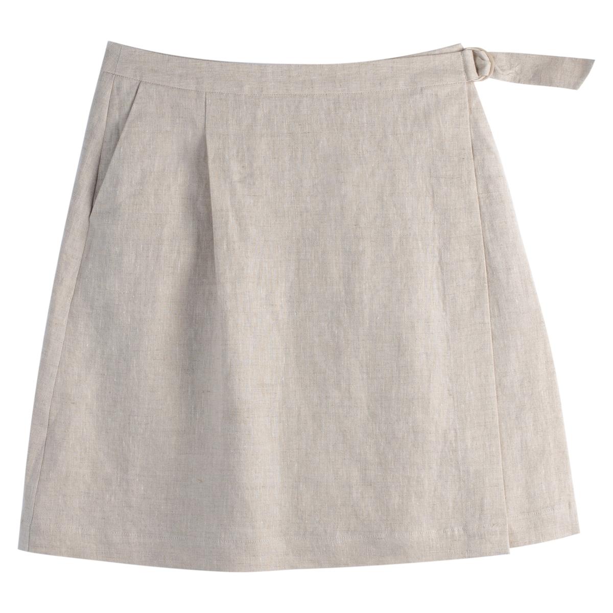 Falda cruzada de lino, 2 bolsillos
