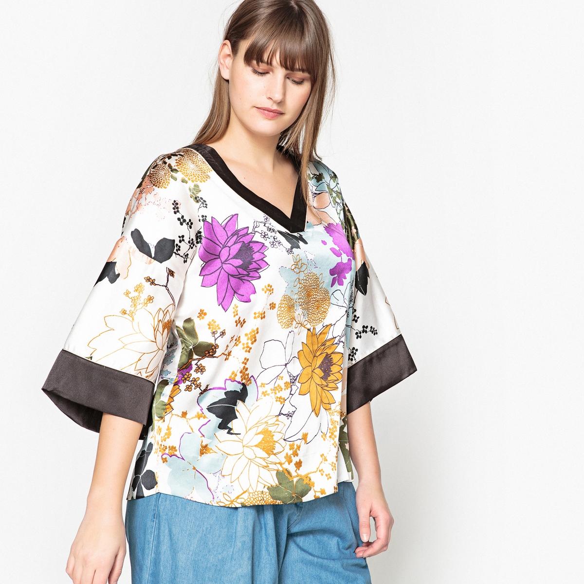 Блузка с V-образным вырезом, цветочным рисунком  короткими рукавами-кимоно