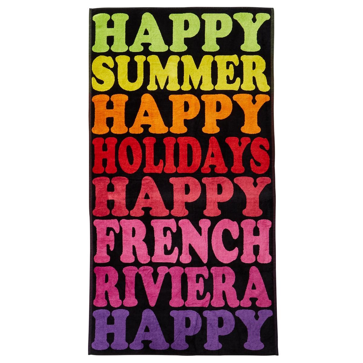 Полотенце пляжное Happy SummerПолотенце пляжное из велюра с жаккардовым рисунком Happy Summer.Характеристики пляжного полотенца Happy Summer :Махровая ткань из велюра с жаккардовым рисунком, 100% хлопок.440 г/м?.Машинная стирка при 60 °С.Размеры пляжного полотенца Happy Summer :95 x 175 см<br><br>Цвет: разноцветный