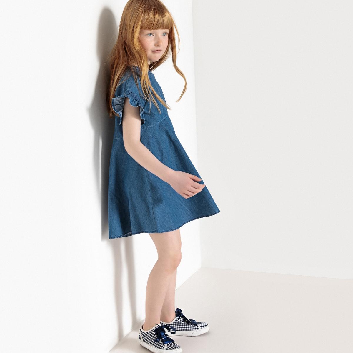 Платье расклешенное из денима, 3-12 лет