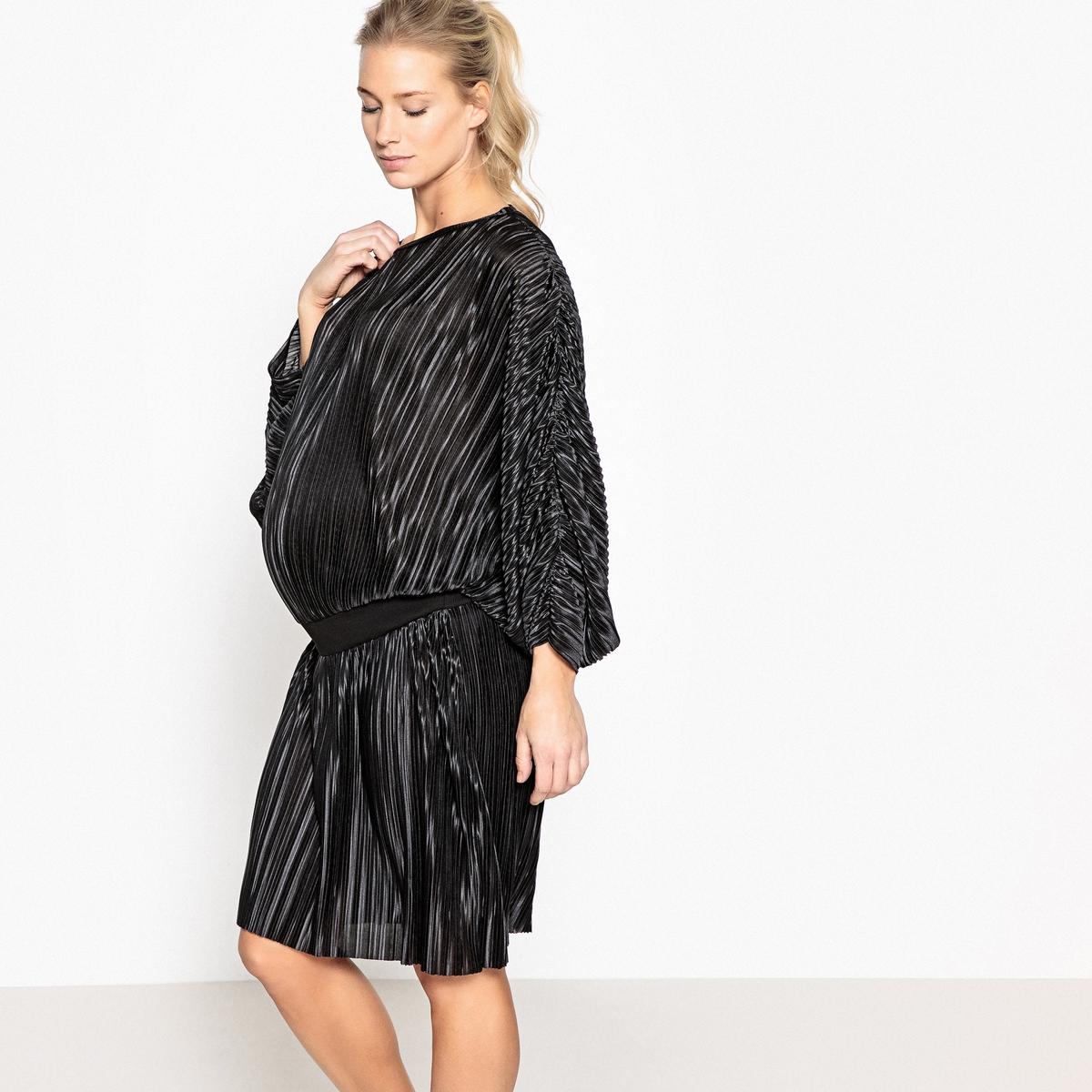 Платье для периода беременности с плиссировкой на эластичном поясеОписание:Детали •  Форма : расклешенная •  Длина до колен •  Короткие рукава    •  Вырез-лодочкаСостав и уход •  100% полиэстер •  Следуйте советам по уходу, указанным на этикеткеМодель адаптирована для периода беременности •  Длина  : 94 см<br><br>Цвет: черный