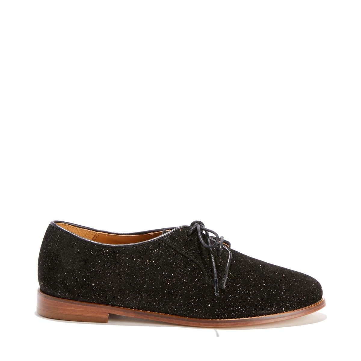 Ботинки-дерби кожаные с пайетками ботинки кожаные с кисточками