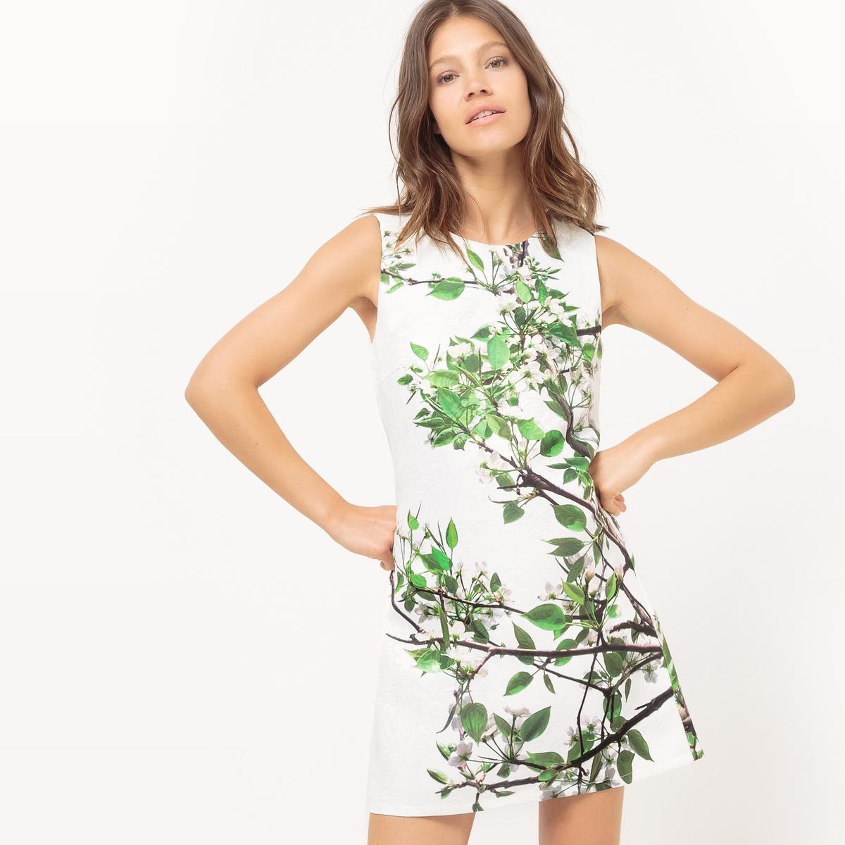 Платье прямое без рукавов с рисунком листьяМатериал : 4% эластана, 96% полиэстера  Длина рукава : без рукавов  Форма воротника : Круглый вырез Покрой платья : платье прямого покроя  Рисунок : принт.   Длина платья : короткое.<br><br>Цвет: цветочный рисунок