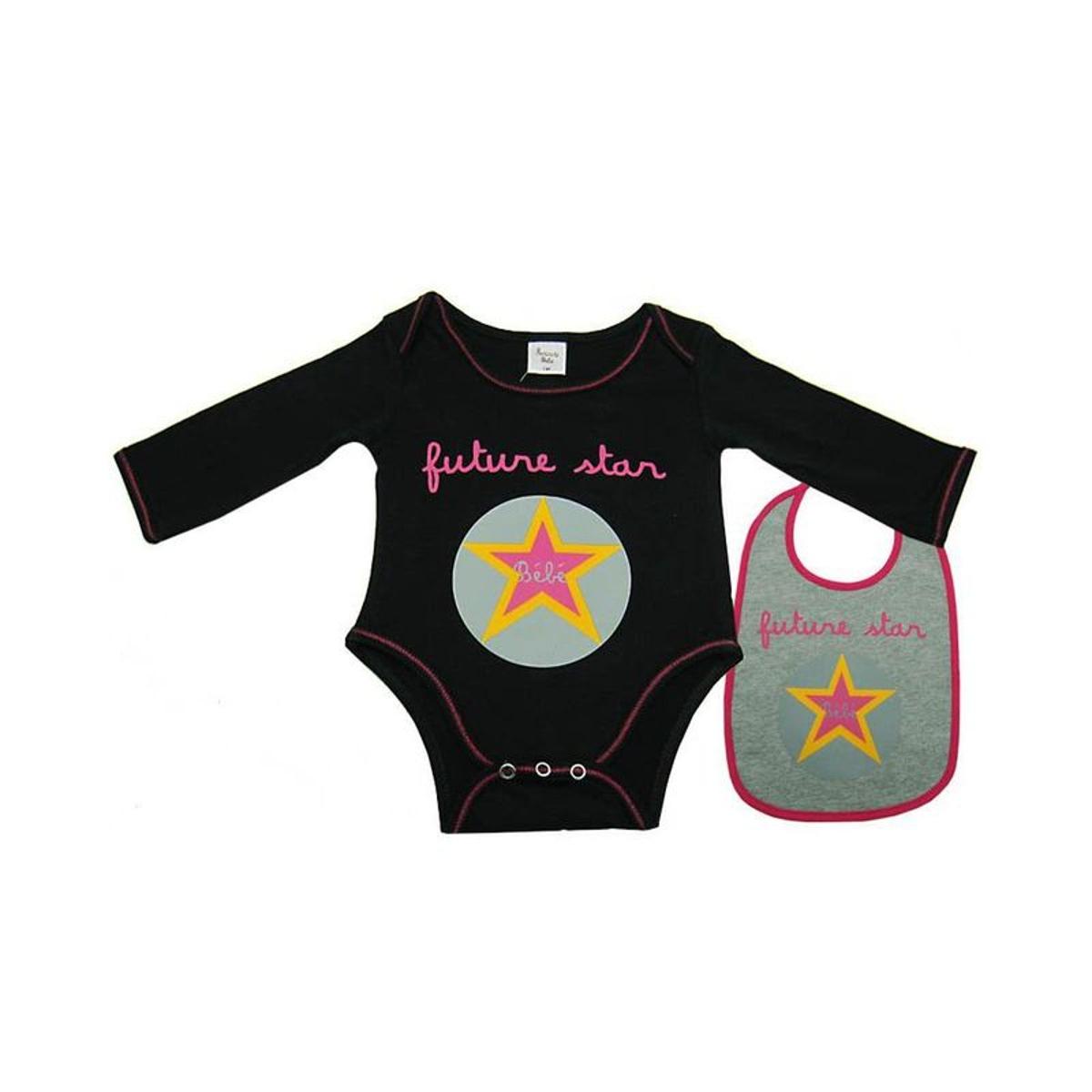 Body bavoir bébé Futur star noir 3 mois