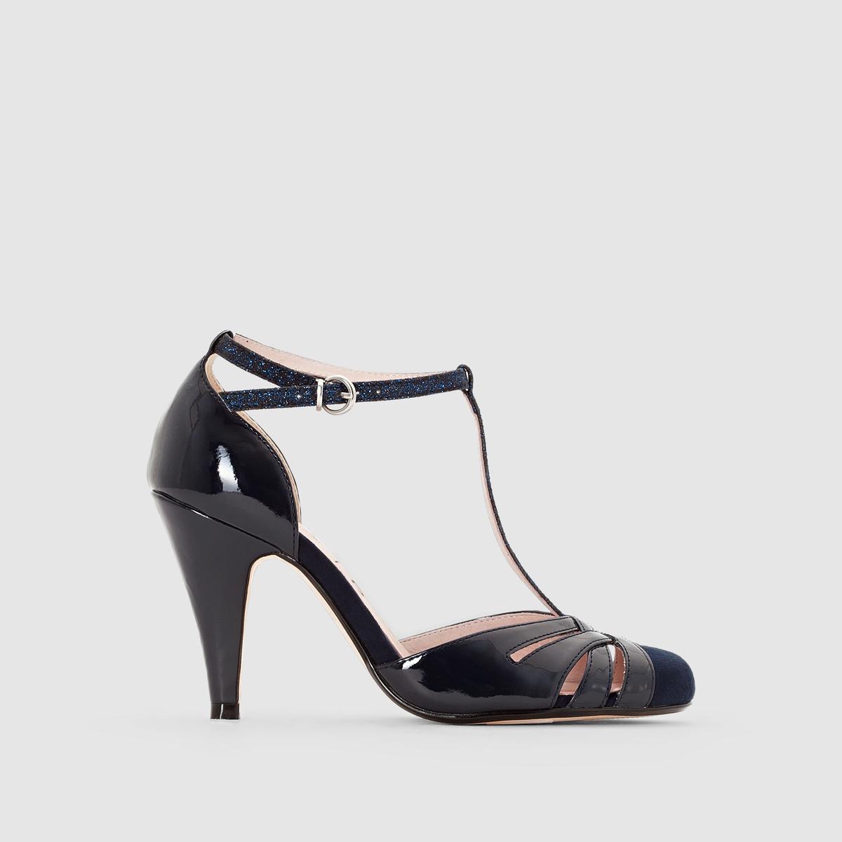 Туфлина каблуке с ремешком<br><br>Цвет: телесный,темно-синий,черный<br>Размер: 38.37.36.40