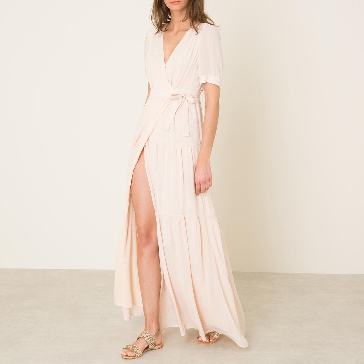 Платье URIELПлатье длинное BA&amp;SH - модель URIEL, из струящейся ткани . Покрой с нахлестом.  V-образный вырез с завязками ниже груди . Короткие рукава. Сплошной рисунок.Состав и описание    Материал : 100% волокно рами   Марка : BA&amp;SH<br><br>Цвет: телесный<br>Размер: L